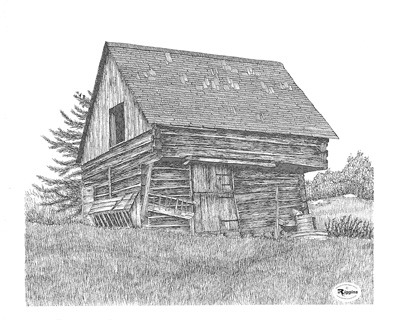 Rustic Barn Print Size 17x14 Only Two Remaining Framed Prints Available Haulage Truck Drawing